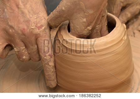 Process Of Making Clayware On Potter's Wheel