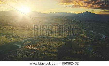 Beautiful view at mountain valley during sunrise shot in Majalengka West Java Indonesia