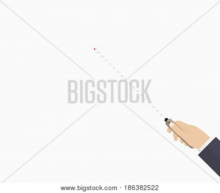 Laser pointer in hand. Learning process. Template for business education presentation coaching. Vector