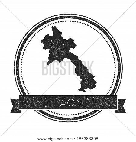 Retro Distressed Lao People's Democratic Republic Badge With Map. Hipster Round Rubber Stamp With Co