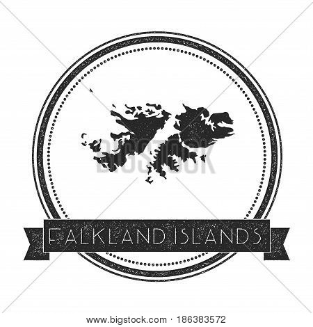 Retro Distressed Falkland Islands (malvinas) Badge With Map. Hipster Round Rubber Stamp With Country