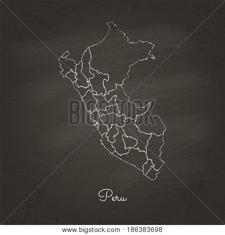 Peru Region Map: Hand Drawn With White Chalk On School Blackboard Texture. Detailed Map Of Peru Regi