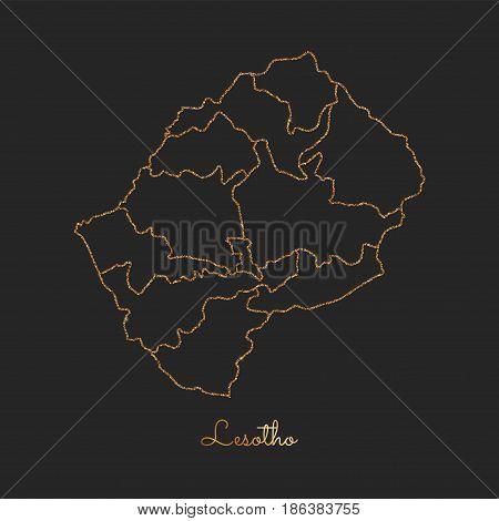 Lesotho Region Map: Golden Glitter Outline With Sparkling Stars On Dark Background. Detailed Map Of