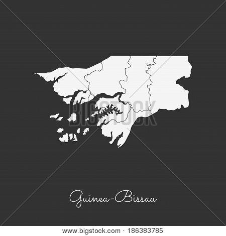 Guinea-bissau Region Map: White Outline On Grey Background. Detailed Map Of Guinea-bissau Regions. V