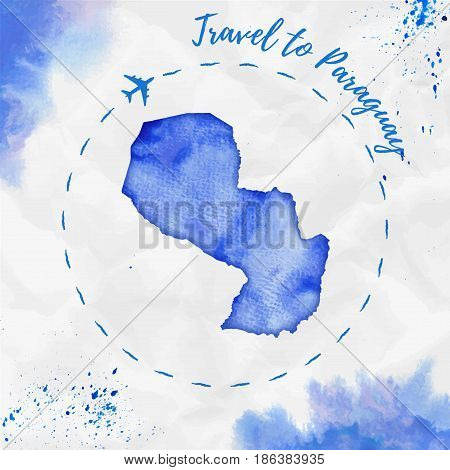 Paraguay Watercolor Map In Blue Colors. Travel To Paraguay Poster With Airplane Trace And Handpainte