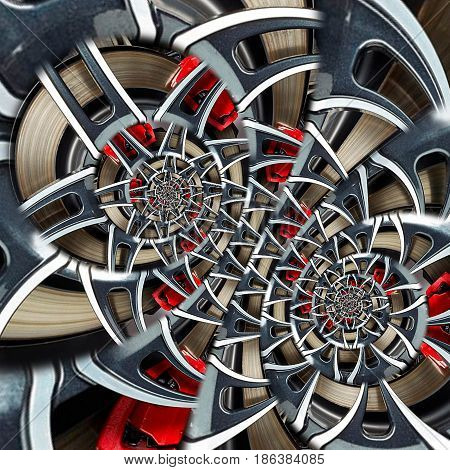 Sport car automobile wheel abstract fractal brake disk tire close up double spiral effect pattern background. Automotive abstract car wheel tire spiral pattern background. Car abstract wheel spokes
