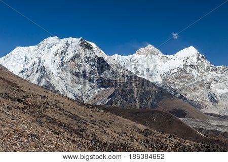 Island Peak Or Imja Tse And Makalu View On The Way To Everest Base Camp In Sagarmatha National Park,