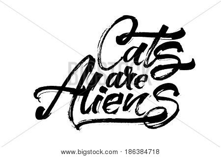 Cats are Aliens. Modern Calligraphy Hand Lettering for Silk Screen Printing