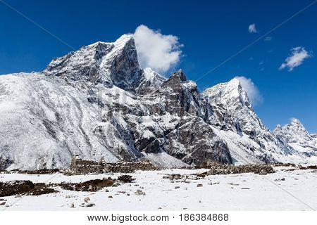 Snowy Mountains Near Dingboche Village On The Way To Everest Base Camp. Beautiful Landscape Of Snowy