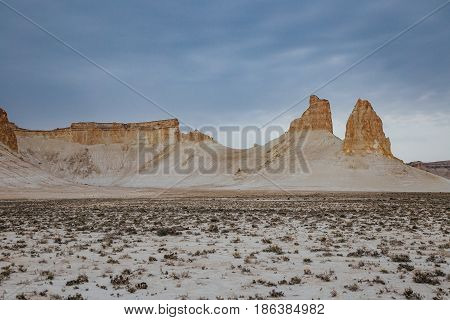 Peaked rocks in the canyon of Boszhira, chines Plateau Ustyurt, Kazakhstan