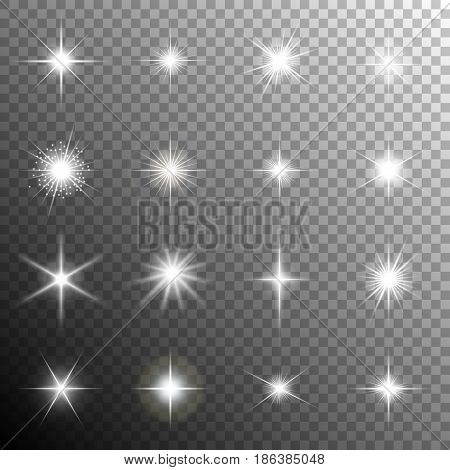 Sparkling stars flickering and flashing lights. Collection of different light effects in vector