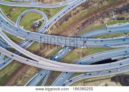Aerial view of a freeway intersection. Aerial photography