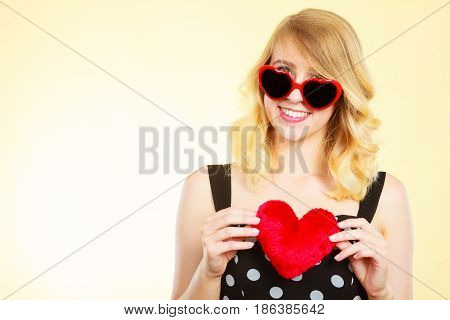 Woman Holding Red Heart Love Symbol