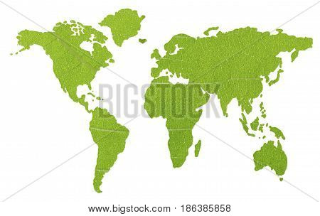 Green Global map isolated on white background