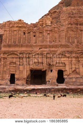 The ornately carved sandstone facade surrounding the entrance of the Corinthian Tombs in Petra, Jordan. The ancient city of Nabataeans is also called Raqmu. Goats graze near the building.