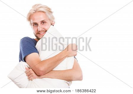 Man Playing With Pillows, Good Sleep Concept