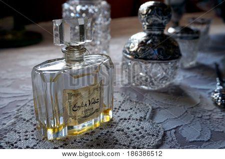 Cornwall, England, Uk - April 5Th 2017: Bottle Of Old Vintage Engkish Violets Perfume By Floris Of L