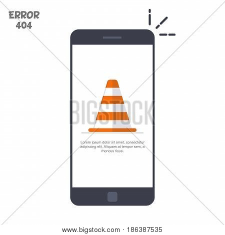 Mobile phone with a picture of a construction cone. The concept of error 404 on an electronic device. Vector illustration in a flat style isolated on a white background