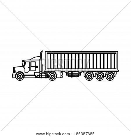 truck cargo container trailer outline vector illustration