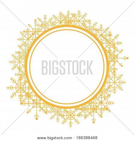 christmas wreath with golden snow flakes frame for xmas vector illustration