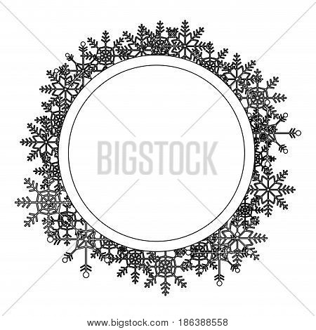 christmas wreath with snow flakes frame for xmas vector illustration