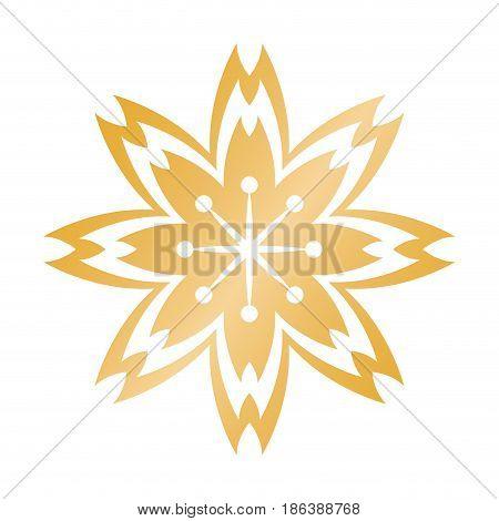 golden flower chinese decoration symbol vector illustration