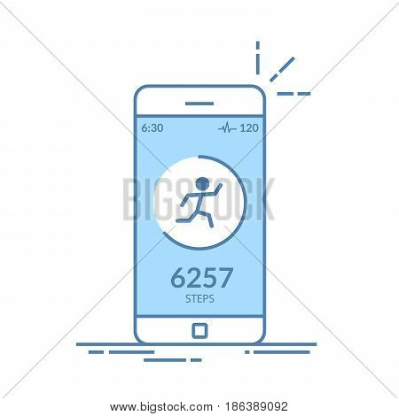 Application on the mobile phone to track the steps, the pedometer. App for morning jogging or fitness. The concept of the interface design of the apps. Isolated thin line illustration