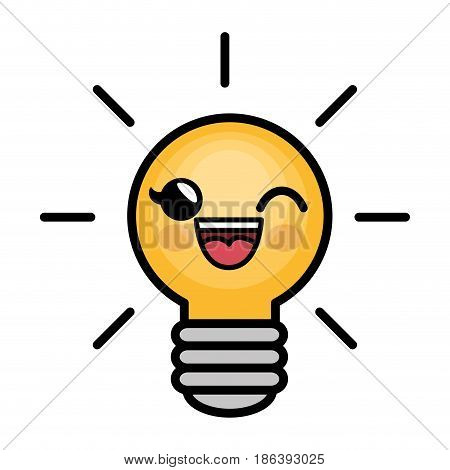 kawaii bulb icon over white background. colorful design. vector illustration