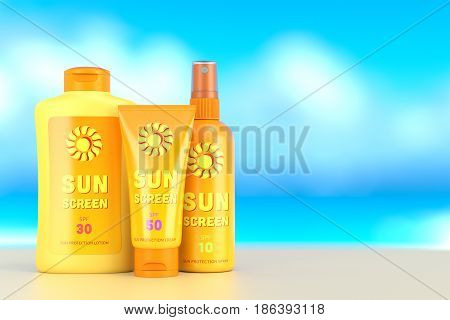 Sun Protection Cream, Spray And Lotion Over Summer Sky Background