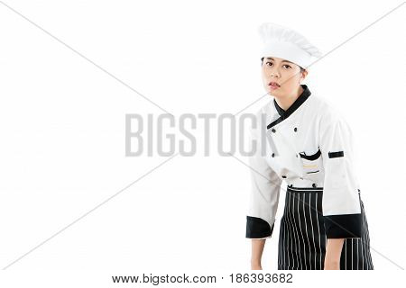 Woman Chef Feel Fatigued And Tired