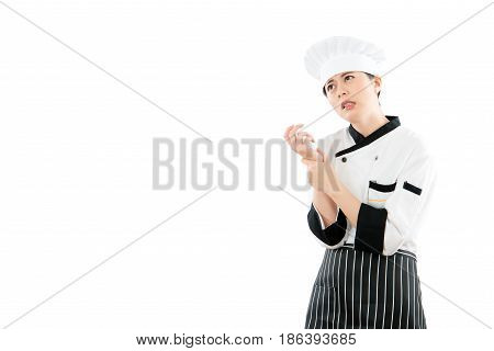 Asian Woman Chef Feel Hand Wrist Pain Injury