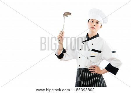Woman Chef Holding Spoon Showing On A Copyspace
