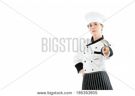 The Restaurant Chef Make A Gesture Pointing Camera
