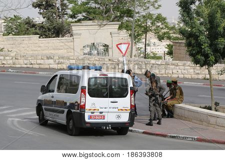JERUSALEM, ISRAEL - APRIL 30, 2017: Israeli policemen provide security in the Old City of Jerusalem.