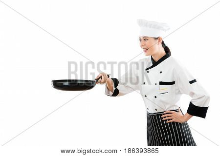 Professional Asian Chef With A Flat Pan