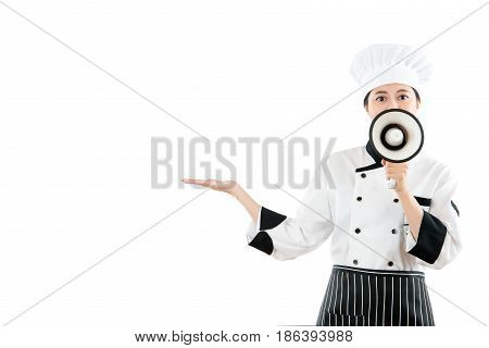 Professional Chef Open Her Hand To Making Gesture