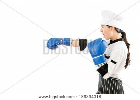 Profile Of Angry Cooking Chef Woman Attack