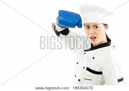 Determined Female Cook Pretending To Fight
