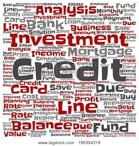 Conceptual credit card line investment balance abstract word cloud isolated background. Collage of money analysis, business fund balance, estate, mortgage, safe refinance solution text concept