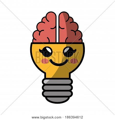 kawaii bulb with brain icon over white background. colorful design. vector illustration