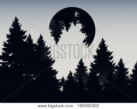 Abstract double exposure mountain landscape background vector illustration