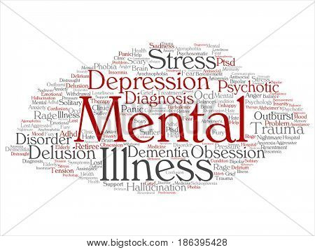 Concept conceptual mental illness disorder problem management or therapy abstract word cloud isolated background. Collage of health, trauma, psychology, help, treatment or rehabilitation text