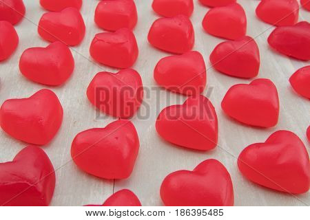 Rows Of Red Gummy Hearts At Angle