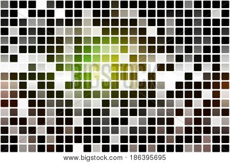 Green brown yellow black occasional opacity vector square tiles mosaic over white background