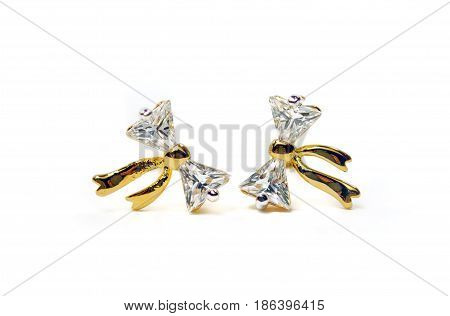 Gold Pendant Cameo Jewelry With Diamond Bow Shape Putting Isolated On White