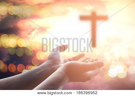 Human hands open palm up worship. Eucharist Therapy Bless God Helping Repent Catholic Easter Lent Mind Pray. Christian worship concept background.