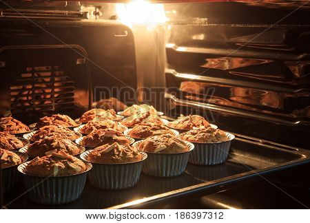 Morning breakfast Banana cake in hot oven that have good taste and fresh. bread banana cup cake.