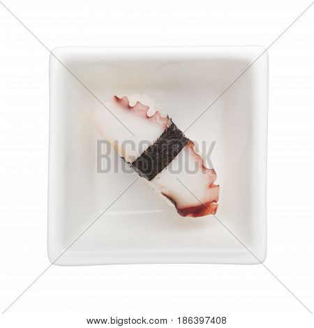 Sushi - Tako nigiri in a square bowl isolated on white background