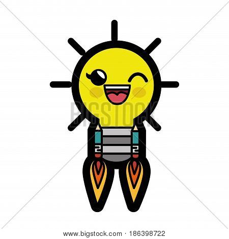 kawaii bulb rocket icon over white background. colorful design. vector illustration