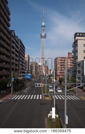 Sumida-ku, Tokyo, Japan - Apr 16,2017 : Tokyo Skytree View From Sumida-ku Town In Japan On 16 April,